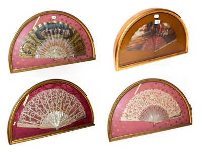 Lot 12 - ~ Four fans with mother-of-pearl sticks, each in a gilt framed wall hanging display case, two...