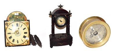 Lot 20 - ~ A Continental twin weight hanging alarm clock striking on a bell, a quartz portico mantel...