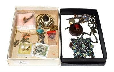 Lot 24 - ~ Two small boxes of costume jewellery and collectables, including a coloured paste set...