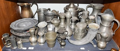 Lot 36 - ~ A quantity of Continental pewter items, tankards, ewers and plates etc including Belgian, Spanish