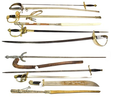 Lot 42 - ~ Two Argentinean strap whips; a quantity of German and other copy swords and a shillelagh