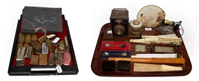 Lot 46 - ~ Collectables including a 1950s European photograph album, brass lighters, fans including bone...