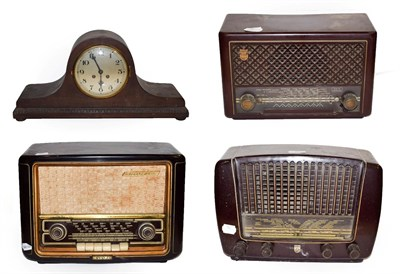 Lot 51 - ~ An Invicta Bakelite valve radio, two Philips examples and an oak cased 8 day mantel clock...