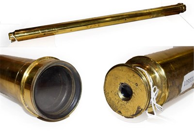 Lot 52 - ~ A 19th century lacquered brass two drawer telescope, 105cm closed, object lens 6cm diameter