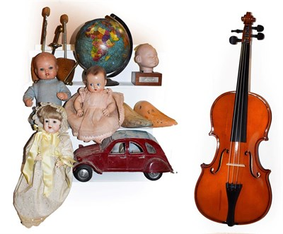 Lot 53 - ~ Assorted collectables including composite and bisque dolls, novelty 20cm globe, shoe...