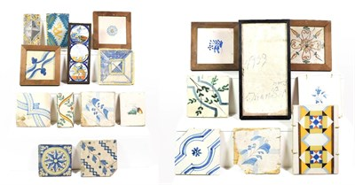 Lot 69 - ~ A quantity of Continental maiolica polychrome tiles, some mounted (2 trays)