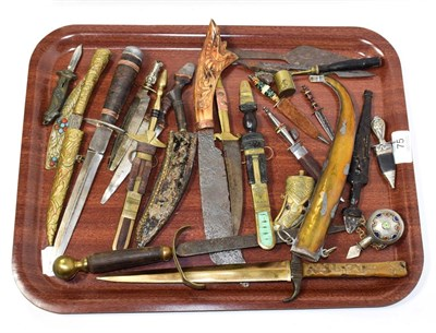 Lot 75 - ~ A quantity of knives and dagger etc including leather and metal mounted examples, together...