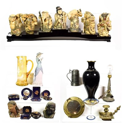 Lot 78 - ~ Oriental collectables including a set of composite okimono on stand, modern Chinese enamelled...