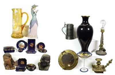Lot 80 - ~ Assorted ceramics and metalwares including a large Lladro figure, Mary Gregory amber glass...