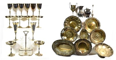 Lot 81 - ~ Two trays of Spanish silver and silver plated wares, including two repousse silver lozenge shaped