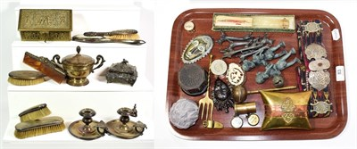 Lot 83 - ~ Assorted metalwares and collectables including relief brass jewellery casket decorated with...