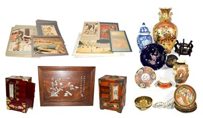 Lot 87 - ~ Oriental collectables including Satsuma, blue and white, Chinese abalone inlaid serving tray, two
