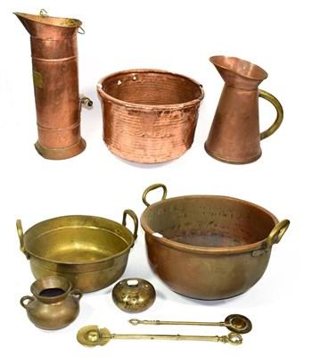 Lot 90 - ~ A quantity of metalwares including cooking pots and a coal skuttle with delft handles, (9).