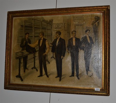 Lot 1002 - ~ P* Sabate (early 20th century) Spanish, Gentleman in a suitmakers, signed and dated 1905, signed