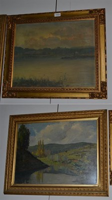 Lot 1004 - ~ Continental School (19th/20th century), View of a lake, indistinctly signed, oil on board,...