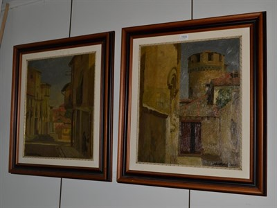 Lot 1005 - ~ * Viceri (20th century), Continental townscape, signed, oil on canvas, together with a...