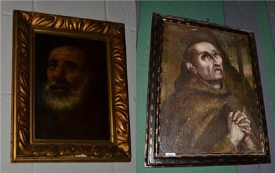 Lot 1007 - ~ Manner of El Greco, Penitent Franciscan, oil on canvas, together with a further continental...