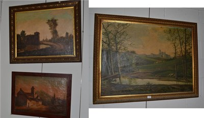 Lot 1008 - ~ A* Girbal (19th/20th century), View of a monastery in a landscape, signed oil on canvas, together