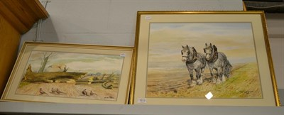 Lot 1013 - DM & EM Alderson (later 20th century) Plough team of dapple grey heavy horses, signed and dated...