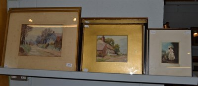Lot 1014 - P. Arnold (19th/20th century) Village views, a pair, signed and dated 1922, watercolours, 24cm...