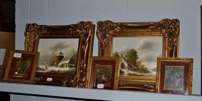 Lot 1019 - A pair of 20th century Dutch school oil on board winter scenes, each signed J. Korsten, 19cm by...