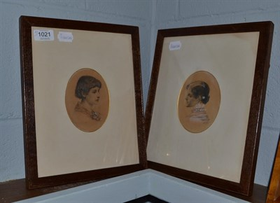 Lot 1021 - Walter Seymour (19th century) British, pair of oak framed watercolour portraits, young ladies,...