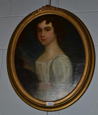 Lot 1029 - British school 19th century Portrait of a young lady, half length wearing a white dress with...