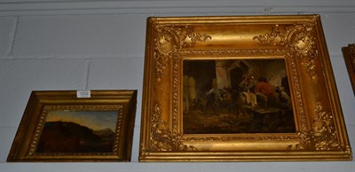 Lot 1032 - After George Morland (1763-1804), Travellers in repose at a doorway, bears signature, oil on...