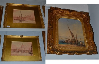 Lot 1034 - Circle of William Gershom Collingwood (1854-1932), Harbour scene with view of cathedral beyond,...