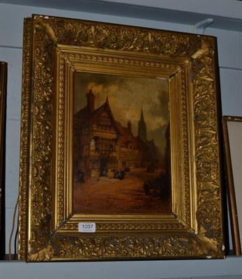 Lot 1037 - Henry Foley (1848-1874), Figures in a continental town, signed, oil on canvas, 32.5cm by 23.5cm