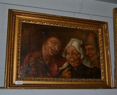 Lot 1038 - Manner of Adriaen van Ostade, Figures merrymaking, oil on canvas, 32cm by 50cm
