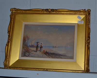 Lot 1039 - Thomas Leeson Rowbotham (1783-1853), Two ladies in conversation beside a continental lake,...