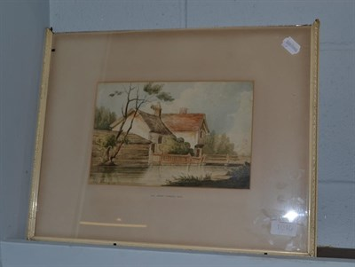 Lot 1040 - Attributed to John Varley (1778-1842), House and bridge, signed, pencil and watercolour, 17cm...