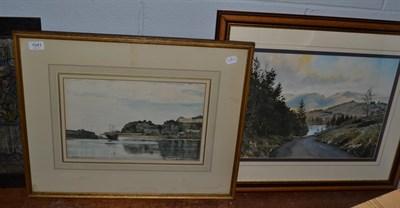 Lot 1041 - David Muirhead ARA (1867-1930) Scottish, Harbour scene, signed and dated 1929, watercolour,...