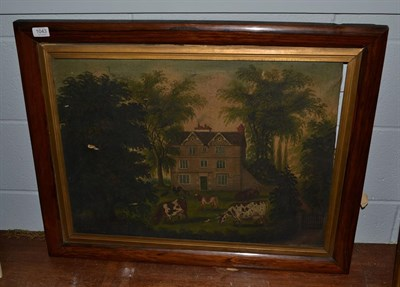 Lot 1043 - * Bradbury (19th/20th century) Cattle and poultry grazing before a country house, signed, oil...
