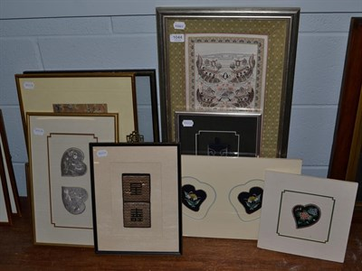 Lot 1044 - Nine various Chinese embroideries, including a fragment from a wedding robe cicra 1860 mostly...