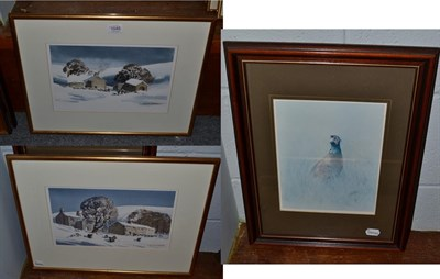 Lot 1045 - Donald Crossley (20th century) Sheep grazing in a snowbound landscape, signed, watercolour,...