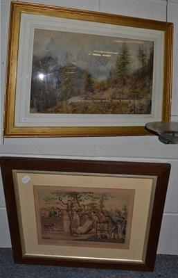 Lot 1049 - An engraving after Cruikshank titled 'Jumping in Sacks', all framed and glazed and a British School