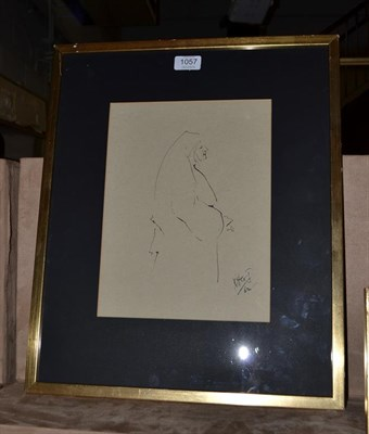 Lot 1057 - MGJ? (20th century), Study of a nun, Indistinctly initialled and dated (19)62, pen and ink,...