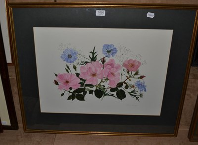 Lot 1060 - Elspeth Harrigan (1938-1999) Scottish, Study of roses, signed, watercolour, 42.5cm by 60cm
