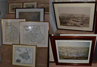 Lot 1061 - After Robert Morden ''Northumberland'' & ''Durham'', coloured maps, together with a further...