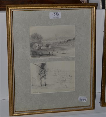 Lot 1063 - Alphonse Perrin (French 1798-1874), Lac du Zurich and a sketch of figures and boats by a shore...