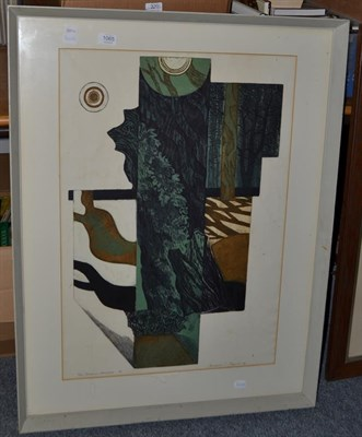 Lot 1065 - Norman Jacques (b.1922), framed coloured etching titled Tree Shadows, signed and titled in...