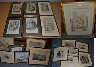 Lot 1068 - H Schafer, 19th century Continental school, figures amongst buildings, watercolour on paper,...