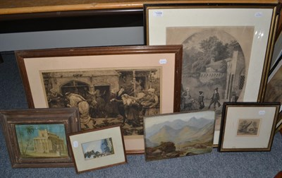Lot 1069 - Three black and white engravings, late 19th century oil on panel, two framed watercolour...
