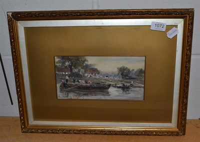 Lot 1072 - British School (19th century), Laden vessels moored at a bankside, indistinctly signed and...