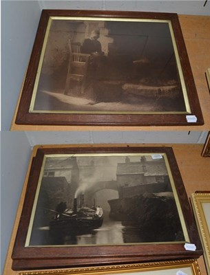 Lot 1073 - Alexander (Alex) Keighley (1861-1947) Two photographic prints, lady sat by fireside, signed,...