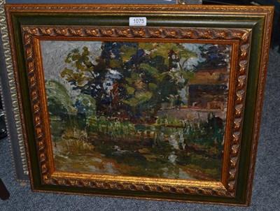 Lot 1075 - Alexander Jamieson (1873-1937) Scottish, ''Burnside, the studio - Weston Turville, Aylesbury'', oil