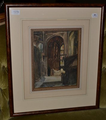 Lot 1076 - Alexander Jamieson (1873-1937) Scottish, Cathedral interior, watercolour, 29cm by 22.5cm