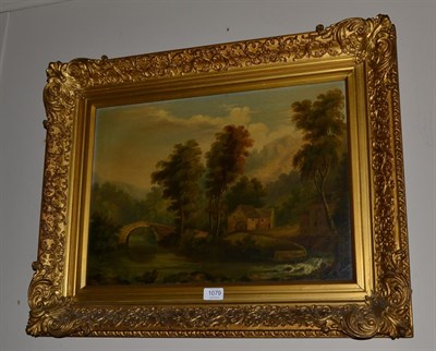 Lot 1079 - Attributed to George Vicat Cole RA (1833-1893), River landscape with mill, oil on canvas, 36.5cm by